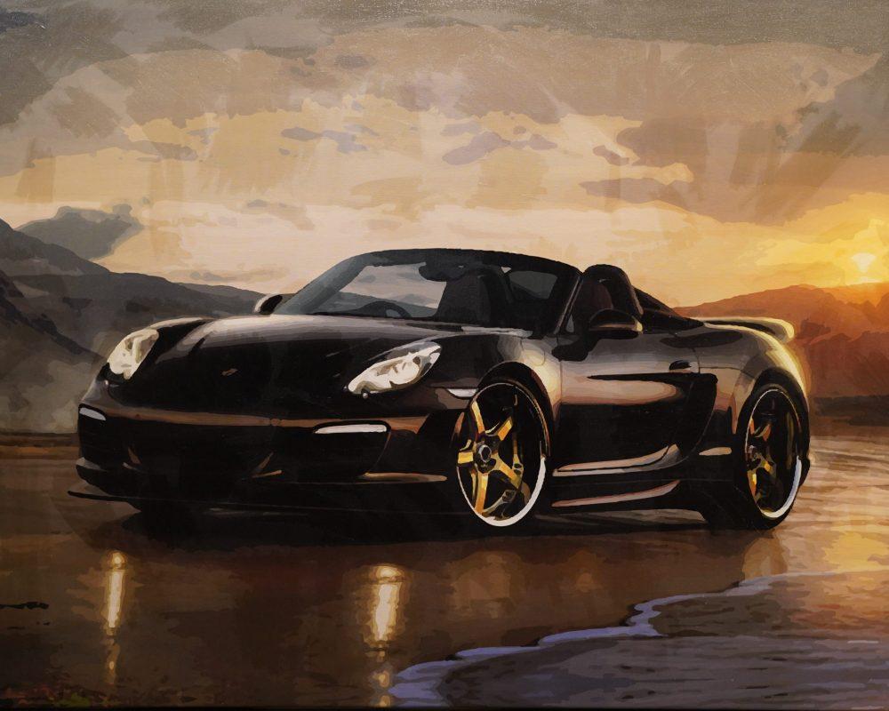 Schwarzer Porsche 2,20 x 1,50m
